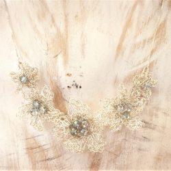 Gargantilla ganchillo plata Flor